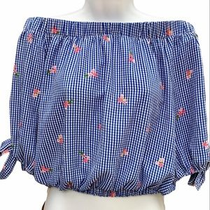 Tempted los angeles Gingham Floral Crop Top